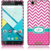 NextKin BLU Studio Energy D810 Flexible Slim Silicone TPU Skin Gel Soft Protector Cover Case - Hot Pink Love Monogram