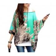 Blusa in chiffon oversize taglio asimmetrico maglia elegante e casual con stampa floreale verde 001