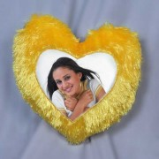 Beautiful Yellow Heart Fur Pillow With Personalized Photo
