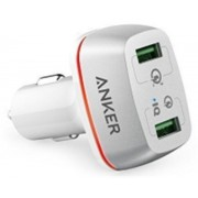 Incarcator auto Anker PowerDrive +2 A2224H21, 2 X USB Qualcomm Quick Charge 3.0, 42W (Alb)