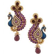 Purple Stone Peacock Earring