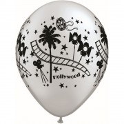 "Baloane latex 11"" inscriptionate Hollywood Stars Silver, Qualatex 92037"