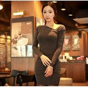 assimétrica de manga comprida bodycon mini vestido das mulheres