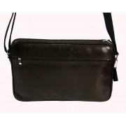Skórzna torba na ramię z wyjmowaną kieszenią na laptopa - brązowa