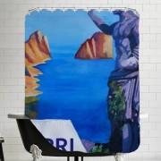 Brayden Studio Markus Bleichner Belk Capri with Ancient Roman Empire Statue Shower Curtain BRSD7049