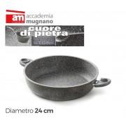 Tegame alto 2 maniglie 24 cm antigraffio Accademia Mugnano Linea CUORE DI PIETRA Mineral Stone