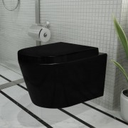 vidaXL Set toaletă din ceramică, montare pe perete, Negru