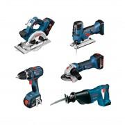 Bosch 5-Tool-Set GSR/GST/GKS/GSA/GWS, inkl. 3 Akku 4.0 Ah
