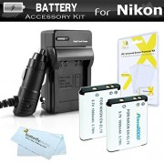 2 Pack Battery And Charger Kit For Nikon Coolpix S3700 S2800 S2900 S33 S7000 S6900 S4300 S6400 S5200 S6500 S4200 Digital Camera Includes 2 Replacement Extended (1000Mah) EN-EL19 Batteries + 110/220 AC/DC Charger + Screen Protectors + More