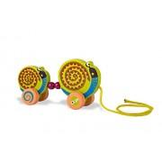 Oops LHB 17.005,13 - Facile giocattoli Pull in legno Famiglia nel colorato, disegno animale sveglio - Lumaca