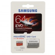 Card de memorie Samsung microSD 64GB EVO Plus UHS-1 (SD Adapter), MB-MP64DA/EU