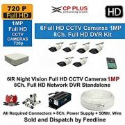 .Cp Plus HD CP-UVR-0801E1 8CH DVR + Cp plus HD CP-VCG-ST10L2 Bullet IR CCTV Camera 6Pcs + 2TB HDD + Cable Full Combo