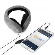 TwitFish Stereo Headphones & Warm Winter Earmuffs - Suede Grey