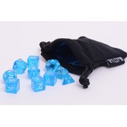 10 Piece Blue Translucent Polyhedral Dice Set - Includes Four Six Sided Dice (D6) and Free Small Dice Bag by Easy Roller Dice Co.