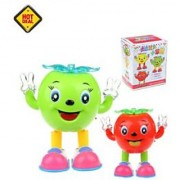 Apple Walking and Dancing Doll Battery Operated musical Flash Light toy The Colorful Light Dynamic Music Walking and D