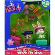 Littlest Pet Shop Figures Playset Garden Bunnies with 2 Bunny Rabbits