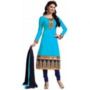 Manvaa Blue Heavy Border Chanderi Salwar Suit Dress Material