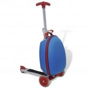 vidaXL Синя количка-куфар със скутер за деца