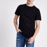 River Island Mens Black curved hem longline T-shirt