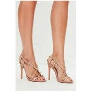 Missguided Nude Pyramid Cross Strap Heeled Sandals, Pink