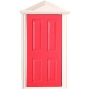 Magideal 1:12 Rose Red Wooden Fairy Steepletop Door Dollhouse Miniature Accessory