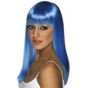 Peruca petrecere glamour albastra neon