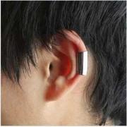 Cercel tip ear cuff, tub simplu argintiu, prindere pe ureche