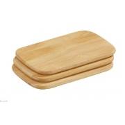 Ensemble de 3 planches à découper pratique au petit déjeuner, couleur naturelle - 22 x 15 cm cm