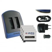 Double Chargeur (USB/Auto/Secteur) + 4x Batteries AHDBT-401 [Li-Ion - 3.8V / 1160mAh] pour GoPro Hero4 Black, Silver, Surf & Music Edition