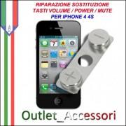 Sostituzione Riparazione Tasti Pulsanti Volume Audio Power Accensione Mute per Apple Iphone 4 4S