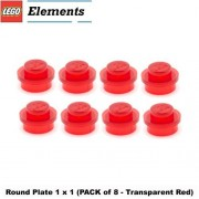 Lego Parts: Round Plate 1 x 1 (PACK of 8 - Transparent Red)