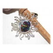 Pendentif Soleil Lune Opale Australienne Argent