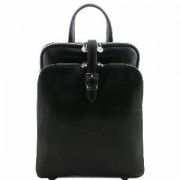 Sac a Dos en Cuir 3 Compartiments Noir -Tuscany Leather-