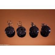 Cercei obsidian cu mărgele rotunde și plate, cu șurub