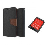 Sony Xperia T2 ULTRA Mercury Wallet Flip Cover Case (BROWN) With Sandisk SD CARD ADAPTER