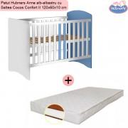 Pachet Patut Hubners Anne alb-albastru cu Saltea Cocos Confort II 120x60x10 cm