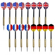 16 Pcs Set Steel Needle Tip Dart Darts With National Flag Flight Flights (4 of Each Style)