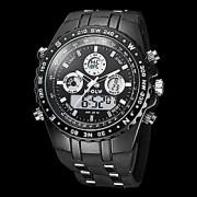 Masculino Relógio de Pulso Quartzo Japonês LCD / Calendário / Cronógrafo / Impermeável / Dois Fusos Horários / alarme Borracha Banda Preta