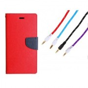 WALLET FLIP CASE COVER FANCY DIARY FLIP CASE COVER For Lenovo A5000 RED WITH AUX CABLE