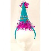 Hanover Accessories Happy Birthday Teal Purple Cone Hat Birthday Party Headband