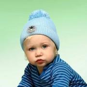 Twinkle Kid Reflektor-Mütze reflektierende Kindermütze mit Leuchtbommel, Blau, Gr. 54/56