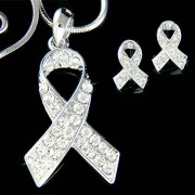 Swarovski Crystal Lung Cancer Awareness Ribbon Necklace Earrings