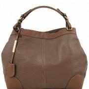 Sac Cuir Souple Fourre-Tout Femme Marron Clair - Tuscany Leather -