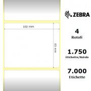 Zebra Z-Perform 1000T - Etichette in carta normale (vellum) di colore bianco, formato 102 x 83 mm.