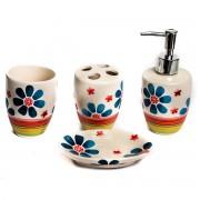 Set de baie, cu 4 produse, model cu flori albastre