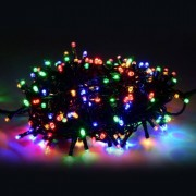Karácsonyi LED fényfüzér zöld vezetékes 17m színes