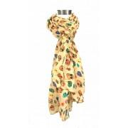 Speelse doodskoppen sjaal creme