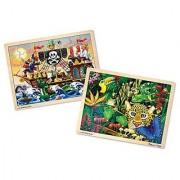 Melissa & Doug Deluxe Wooden 48- Piece Jigsaw Puzzle Bundle (2 Puzzles)