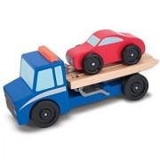 Melissa & Doug Flatbed Tow Truck Wooden Vehicle Set