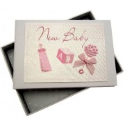 White Cotton Cards Baby Tiny Photo Album (Pink Rattle)